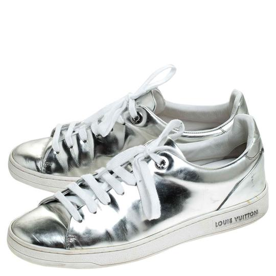 Louis Vuitton Metallic Leather Rubber Round Toe Silver Athletic Image 3