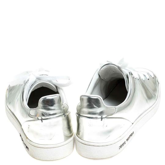 Louis Vuitton Metallic Leather Rubber Round Toe Silver Athletic Image 4