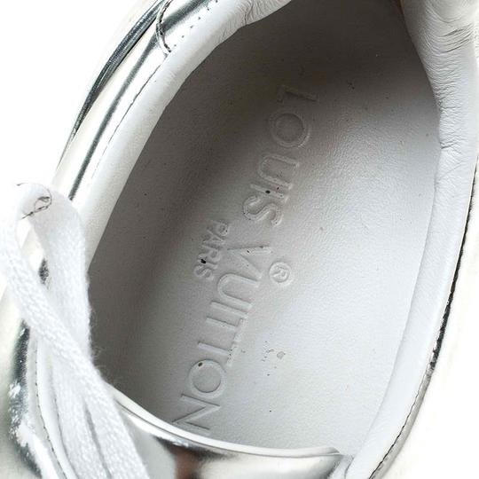 Louis Vuitton Metallic Leather Rubber Round Toe Silver Athletic Image 6