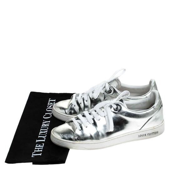 Louis Vuitton Metallic Leather Rubber Round Toe Silver Athletic Image 7