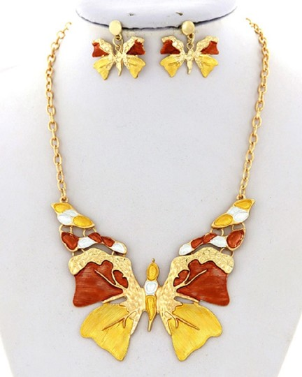 SOPHIA Butterfly Brown Yellow Necklace & Earring Image 1