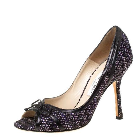 Jimmy Choo Tweed Leather Open Toe Multicolor Pumps Image 1