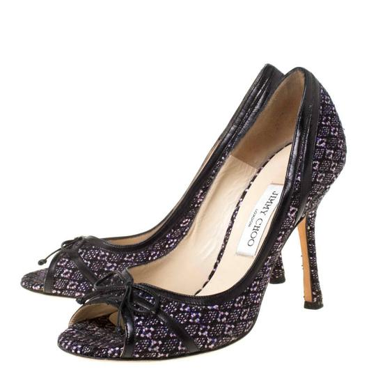 Jimmy Choo Tweed Leather Open Toe Multicolor Pumps Image 4