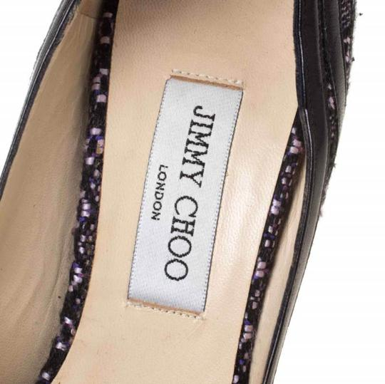 Jimmy Choo Tweed Leather Open Toe Multicolor Pumps Image 6