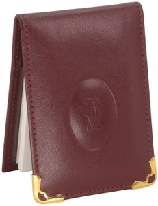 Cartier Grained Leather Double C Embossed Bifold Compact Notepad Card Wallet