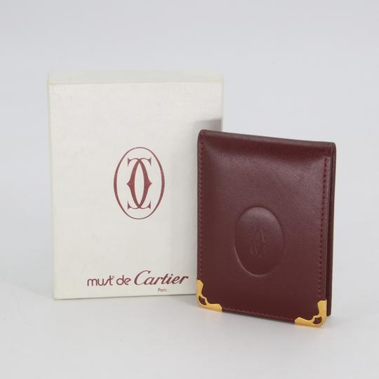 Cartier Grained Leather Double C Embossed Bifold Compact Notepad Card Wallet Image 1