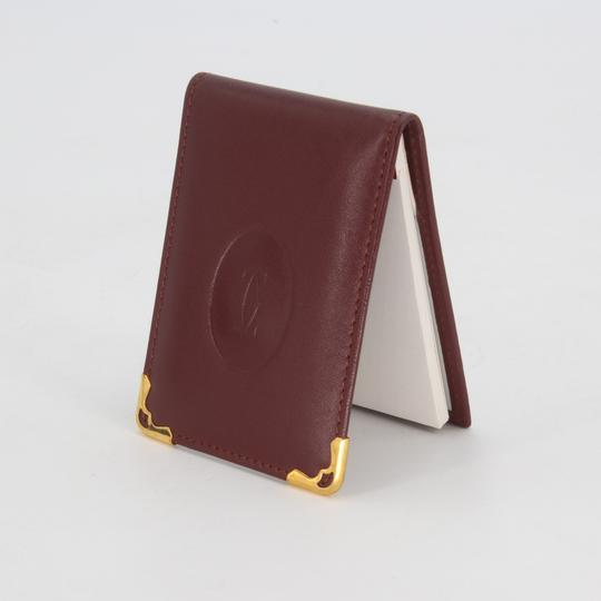 Cartier Grained Leather Double C Embossed Bifold Compact Notepad Card Wallet Image 2