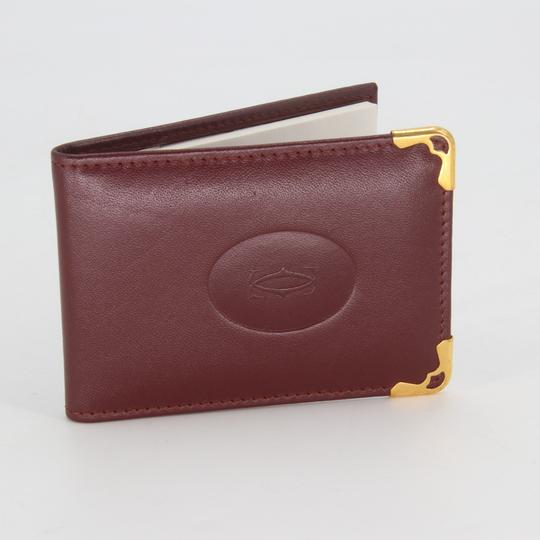 Cartier Grained Leather Double C Embossed Bifold Compact Notepad Card Wallet Image 4