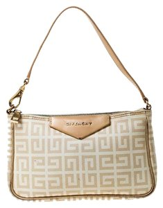 Givenchy Monogram Canvas Leather Beige Clutch