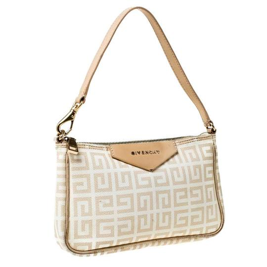 Givenchy Monogram Canvas Leather Beige Clutch Image 3