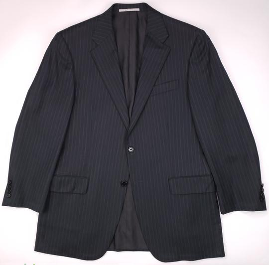 Hickey Freeman Gray Pinstriped 40r Suit Charcoal Blue Lindsey 2 Button Wool Shirt Image 2