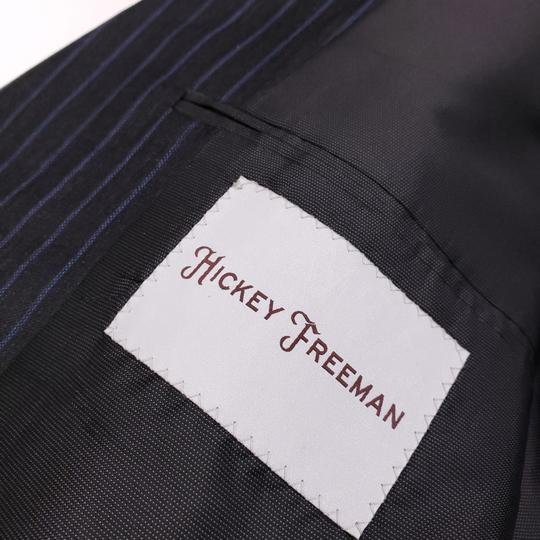 Hickey Freeman Gray Pinstriped 40r Suit Charcoal Blue Lindsey 2 Button Wool Shirt Image 6
