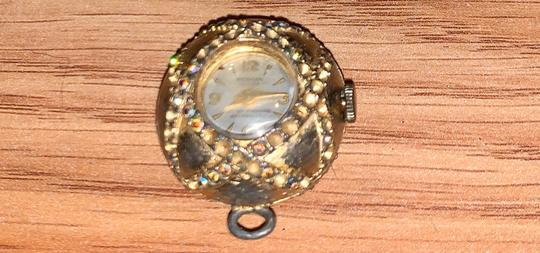 MADE GOLD Gold clock watch antique vintage pendant keepsake different stones Image 1