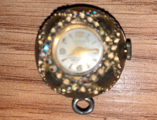 MADE GOLD Gold clock watch antique vintage pendant keepsake different stones Image 2