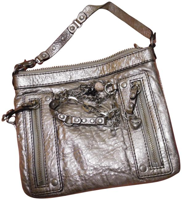Item - Mini Handbag with Chains & Charms Silver Leather Wristlet