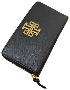 Tory Burch Tory Burch BRITTEN Zip Continental Wallet Pebbled Leather 60413 Black
