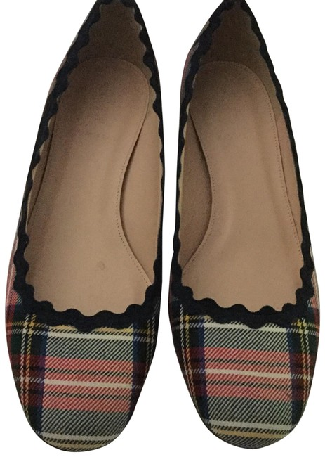 Item - Ivory and Red Wool Plaid Scalloped Heels Pumps Size US 9.5 Regular (M, B)