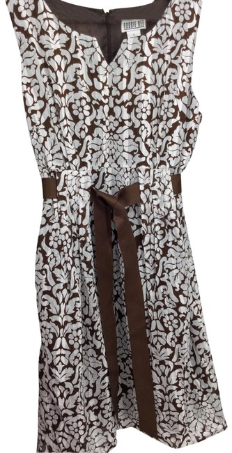 Item - Brown/ White Summer Mid-length Short Casual Dress Size 8 (M)