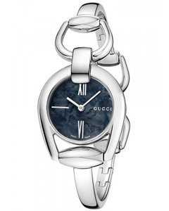 Gucci Horsebit Stainless Steel Black Mother of Pearl YA139503