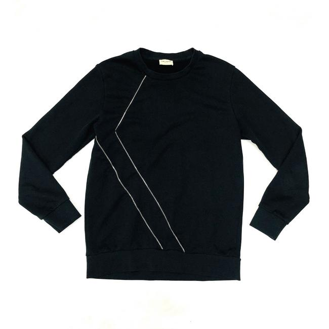 Item - W Black Cotton Pullover W/Zipper Detail Sweatshirt/Hoodie Size OS (one size)