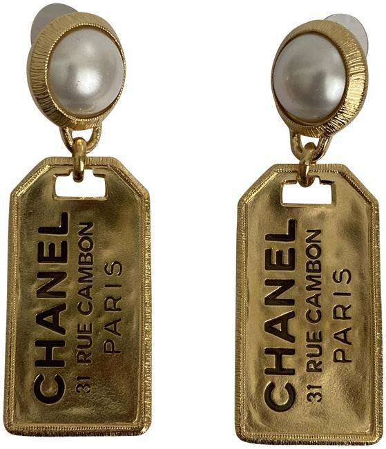 Chanel Gold Cambon XL Letter Logo 31 Rue Pearl Tone Large Tag Drop Earrings Chanel Gold Cambon XL Letter Logo 31 Rue Pearl Tone Large Tag Drop Earrings Image 1