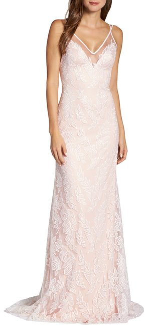 Preload https://img-static.tradesy.com/item/26334243/tadashi-shoji-blush-lace-applique-v-neck-wedding-long-formal-dress-size-0-xs-0-1-650-650.jpg