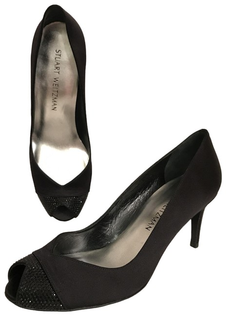 Item - Black New Satin & Rhinestone/Bling Peep Toe Formal Shoes Size US 8 Regular (M, B)