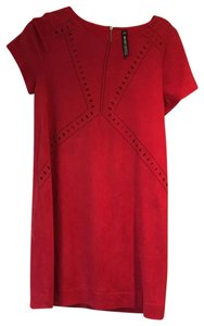 Design Lab (Lord & Taylor) short dress Red Faux Seude Lined on Tradesy