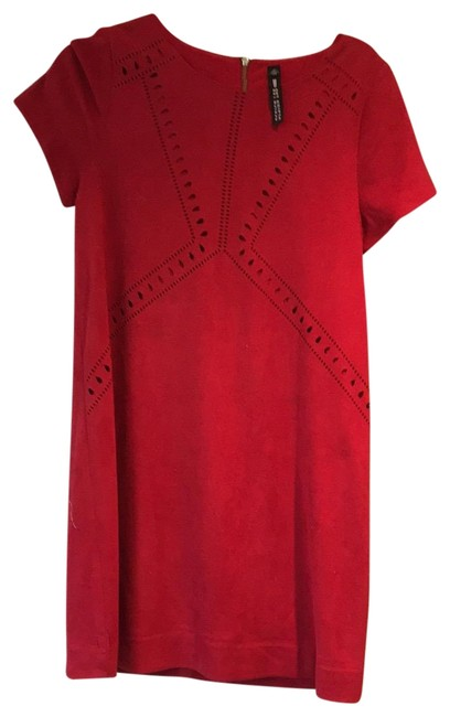 Preload https://img-static.tradesy.com/item/26334275/red-faux-seude-lined-suede-mid-length-short-casual-dress-size-petite-4-s-0-1-650-650.jpg