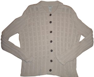 Classic Elements Button Front Beige Sweater