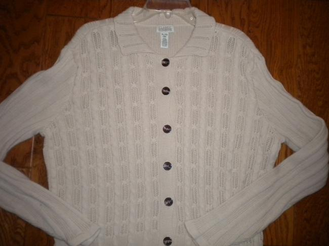 Classic Elements Button Front Beige Sweater Image 1