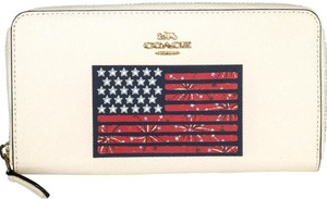Coach Leather American Flag Accordion Zip Wallet F73608