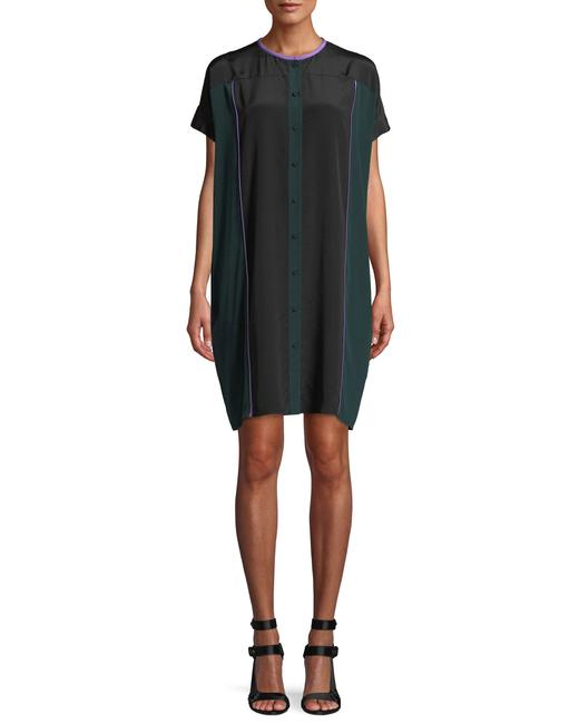 Item - Black Green Lilac Colorblock Button-front Silk Shirtdress Mid-length Night Out Dress Size Petite 6 (S)