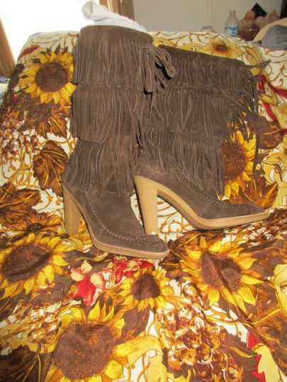 mich Boho Hippy Vintage Style Suede brown Boots Image 7