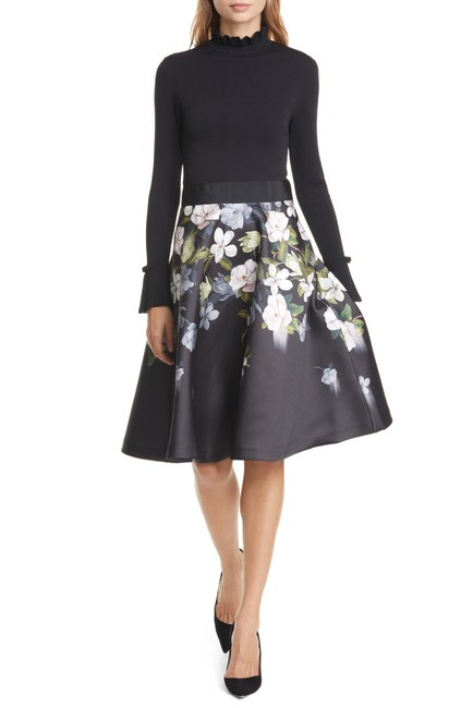 Preload https://img-static.tradesy.com/item/26334506/ted-baker-black-nerida-opal-mixed-media-long-sleeve-fit-and-mid-length-formal-dress-size-4-s-0-0-650-650.jpg