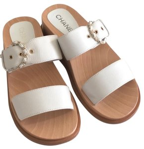 Chanel white and wood Sandals