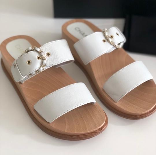 Chanel white and wood Sandals Image 2