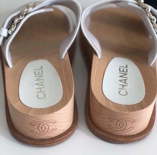 Chanel white and wood Sandals Image 3