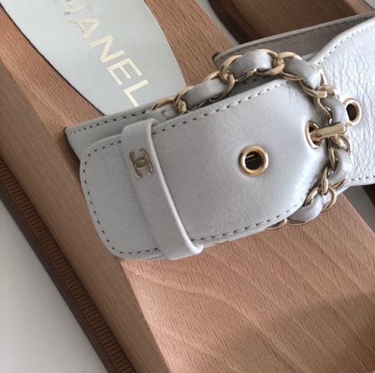 Chanel white and wood Sandals Image 4