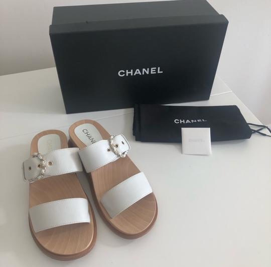 Chanel white and wood Sandals Image 5