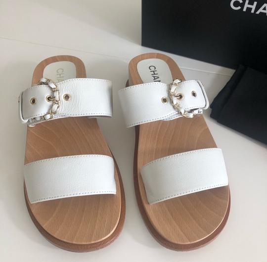 Chanel white and wood Sandals Image 6