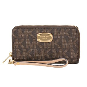 MICHAEL Michael Kors 889154936737 Signature Wristlet in Brown