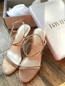 David's Bridal Rose Gold Skinny-strap Crisscross Glitter Heels