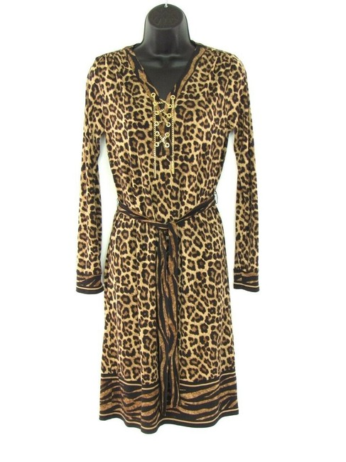 Preload https://img-static.tradesy.com/item/26334628/michael-kors-brown-jersey-leopard-print-knit-mid-length-workoffice-dress-size-2-xs-0-0-650-650.jpg