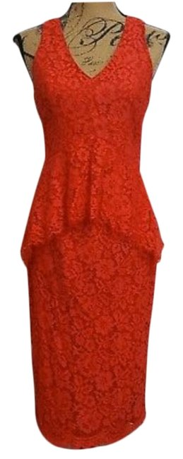 Item - Red Lace Peplum Midi Mid-length Cocktail Dress Size 4 (S)