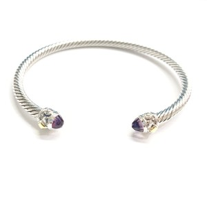 David Yurman GORGEOUS!!! LIKE NEW CONDITION!! David Yurman 18 Karat Yellow Gold and Sterling Silver Amethyst Renaissance Cable Cuff