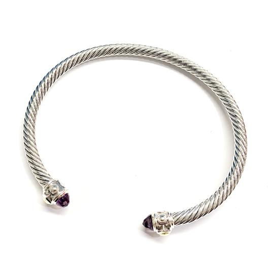 David Yurman GORGEOUS!!! LIKE NEW CONDITION!! David Yurman 18 Karat Yellow Gold and Sterling Silver Amethyst Renaissance Cable Cuff Image 4