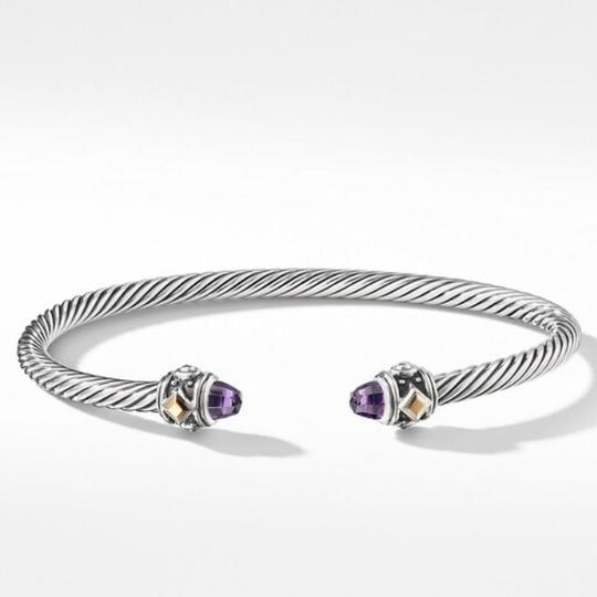 David Yurman GORGEOUS!!! LIKE NEW CONDITION!! David Yurman 18 Karat Yellow Gold and Sterling Silver Amethyst Renaissance Cable Cuff Image 8