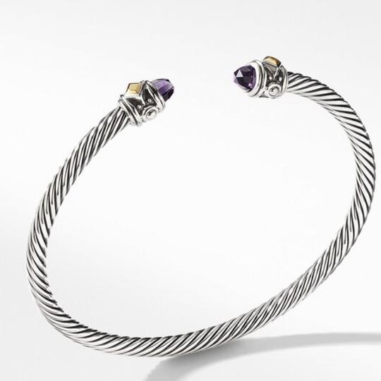 David Yurman GORGEOUS!!! LIKE NEW CONDITION!! David Yurman 18 Karat Yellow Gold and Sterling Silver Amethyst Renaissance Cable Cuff Image 9