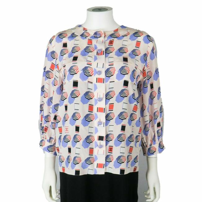 Preload https://img-static.tradesy.com/item/26334638/chanel-white-blue-red-2019-umbrella-print-silk-34-sleeve-us-36-blouse-size-4-s-0-0-650-650.jpg